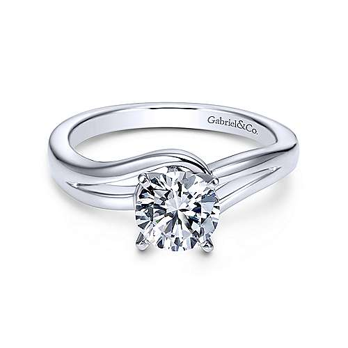 Gabriel & Co 14K White Gold Round Bypass Diamond Engagement Ring ER6680W4JJJ