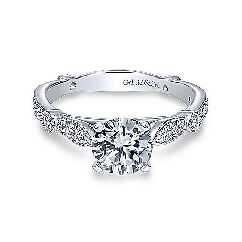 Gabriel & Co 14K White Gold Round Diamond Engagement Ring  ER6711W44JJ