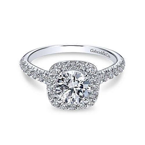 Gabriel & Co 14K White Gold Cushion Halo Round Diamond Engagement Ring  ER6872W44JJ