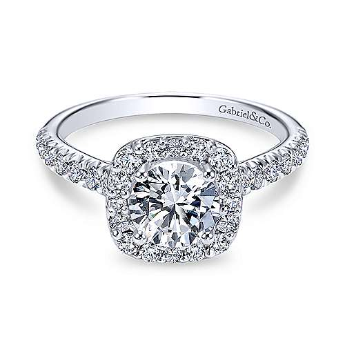 Gabriel & Co 14k White Gold Round Halo ENGAGEMENT RING ER6872W44JJ