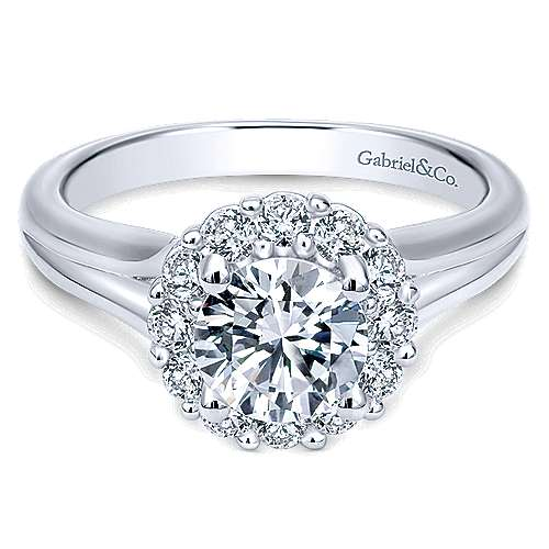 Gabriel & Co 14K White Gold Round Diamond Halo Engagement Ring ER6941W44JJ