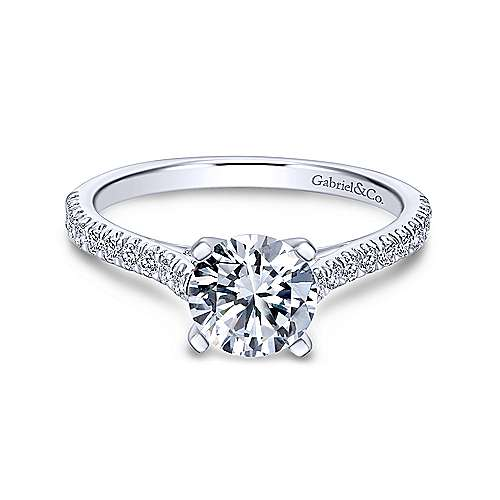 Gabriel & Co 14K White Gold Round Diamond Engagement Ring  ER7224W44JJ