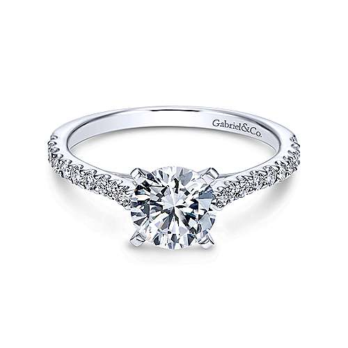 Gabriel & Co 14K White Gold Round Diamond Engagement Ring  ER7227W44JJ