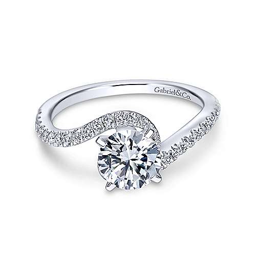 Gabriel & Co 14K White Gold Round Bypass Diamond Engagement Ring ER7232W44JJ
