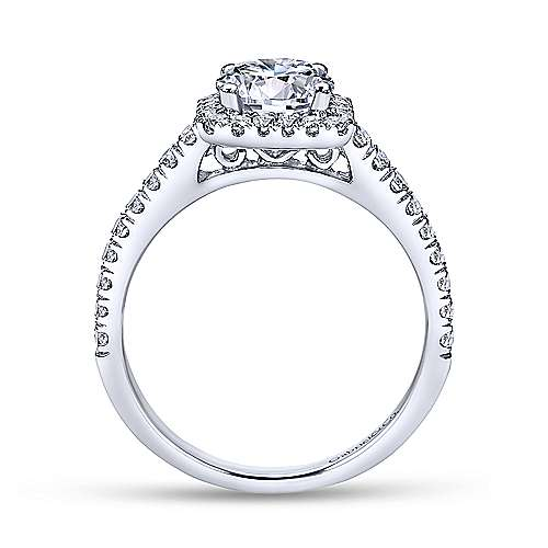 Gabriel & Co 14K White Gold Cushion Halo Round Diamond Engagement Ring  ER7252W44JJ