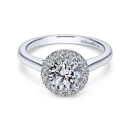 Gabriel & Co 14K White Gold Round Diamond Halo Engagement Ring ER7265W44JJ