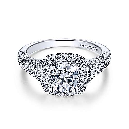 Gabriel & Co Vintage 14K White Gold Cushion Halo Round Diamond Engagement Ring  ER7293W44JJ