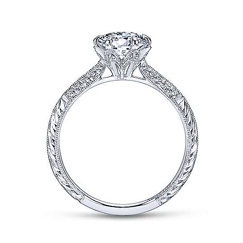 Gabriel & Co Platinum Round Diamond Engagement Ring  ER7389PT3JJ