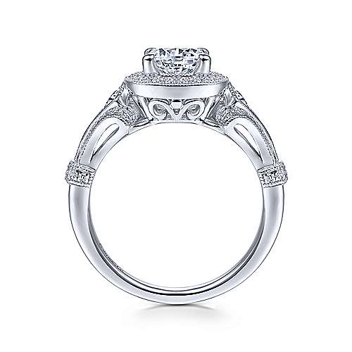 Gabriel & Co Vintage 14K White Gold Cushion Halo Round Diamond Engagement Ring  ER7479W44JJ