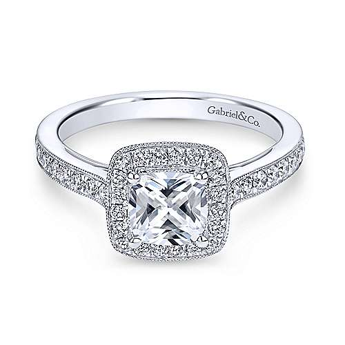 Gabriel & Co. Vintage 14k White Gold Cushion Cut Halo ENGAGEMENT RING ER7527W44JJ