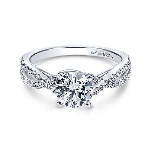 Gabriel & Co 14K White Gold Round Diamond Twisted Engagement Ring ER7546W44JJ