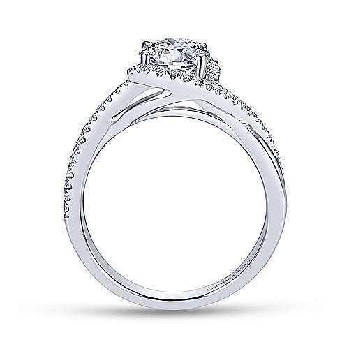 Gabriel & Co 14K White Gold Round Diamond Halo Engagement Ring ER7804W44JJ
