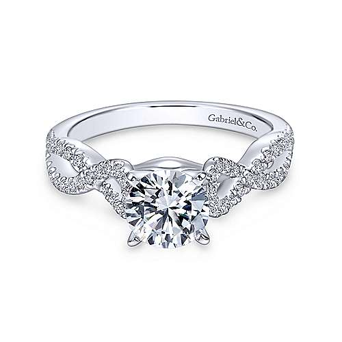 Gabriel & Co 14K White Gold Round Diamond Twisted Engagement Ring ER7805W44JJ