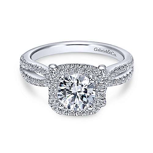 Gabriel & Co 14K White Gold Round Diamond Halo Engagement Ring ER7806W44JJ