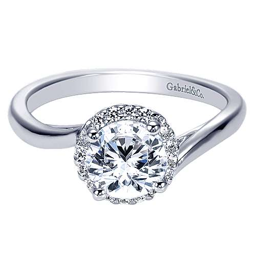 Gabriel & Co 14K White Gold Round Diamond Halo Engagement Ring ER7823W44JJ