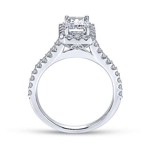 Gabriel & Co 14K White Gold Emerald Cut Diamond Halo Engagement Ring ER7840W44JJ