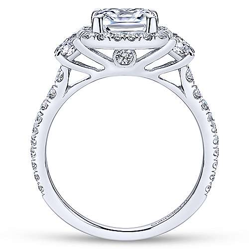 Gabriel & Co 14K White Gold Cushion Three Stone Halo Diamond Engagement Ring  ER9189W44JJ