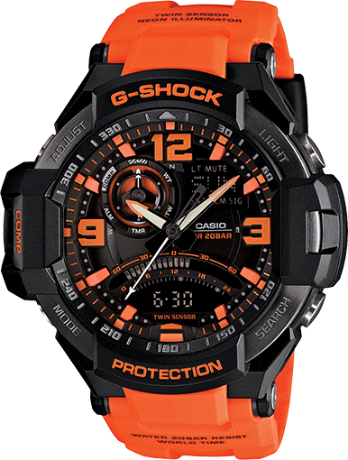 Casio Gshock GA1000-4A Mens Orange Strap Aviation Watch