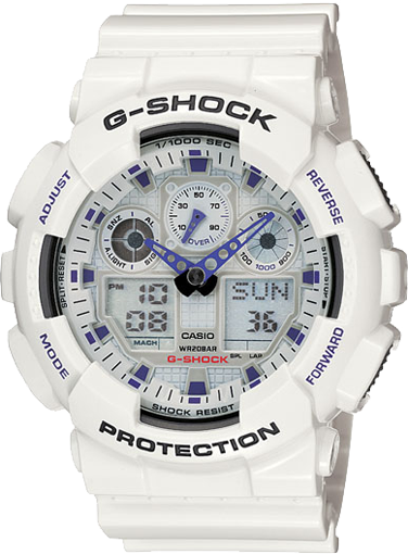 Casio Gshock GA100A-7A White Analog Digital Watch