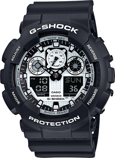 Casio Gshock GA100BW-1A Black Resin Analog Digital Watch