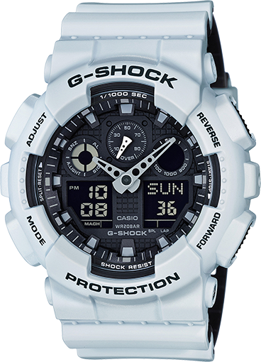 Casio Gshock GA100L-7A Mens White Resin Analog Digital Watch