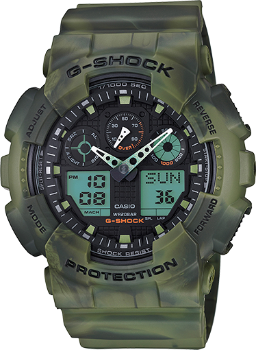 Casio Gshock GA100MM-3A Mens Camo Analog Digital Watch