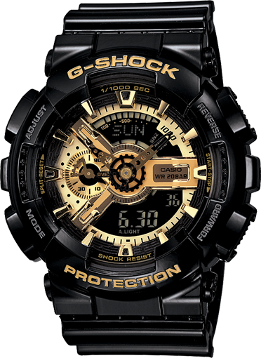 Casio Gshock GA110GB-1A Mens Black and Gold Analog Digital Watch