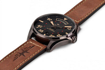 Hamilton Khaki Aviation H64605531 Automatic Day/Date Brown Leather Strap Watch