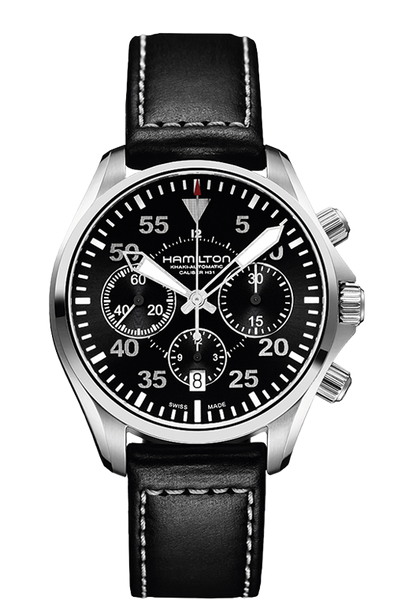 Hamilton Khaki Aviation Pilot H64666735 Automatic Chrono Leather Watch