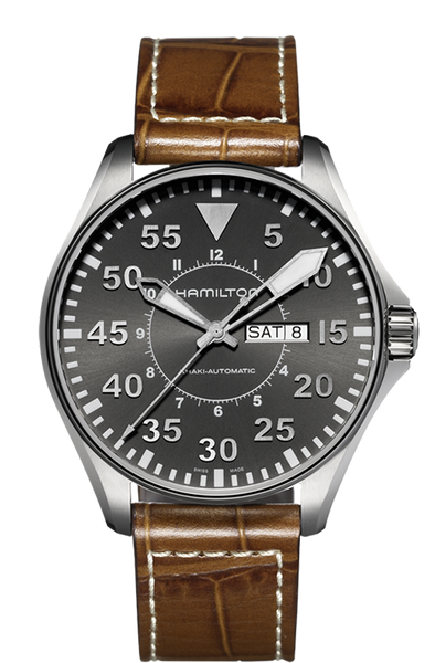 Hamilton Khaki Aviation Pilot H64715885 Day / Date Automatic Leather Watch