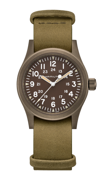 Hamilton H69449861 Khaki Field Mechanical Green Leather Watch