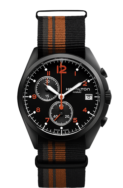 Hamilton H76582933 Pilot Pioneer Nylon Black Orange Stripe Strap Chrono Quartz Watch