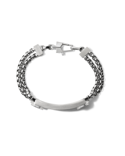 Bulova J96B003M Stainless Steel ID Double Chain Link Bracelet - Medium