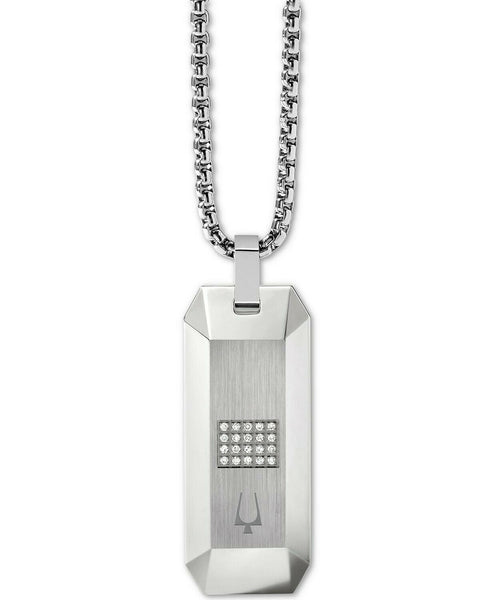 Bulova J96N002 Precisionist Stainless Steel Diamond Accent Pendant Necklace