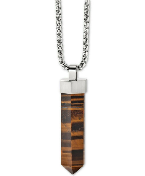 Bulova J96N005 Precisionist Tigers Eye Stainless Steel Pendant Necklace