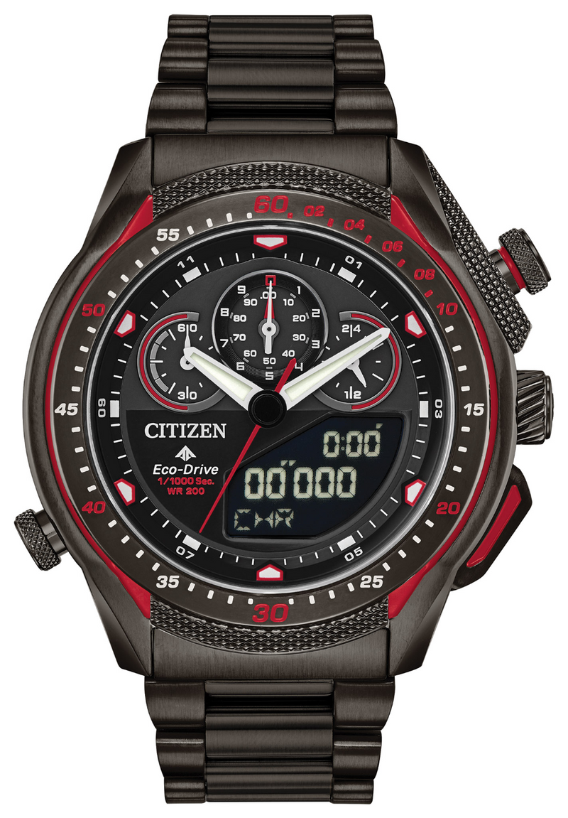 Citizen JW0137-51E Promaster SST Black Stainless Steel Analog Digital Watch