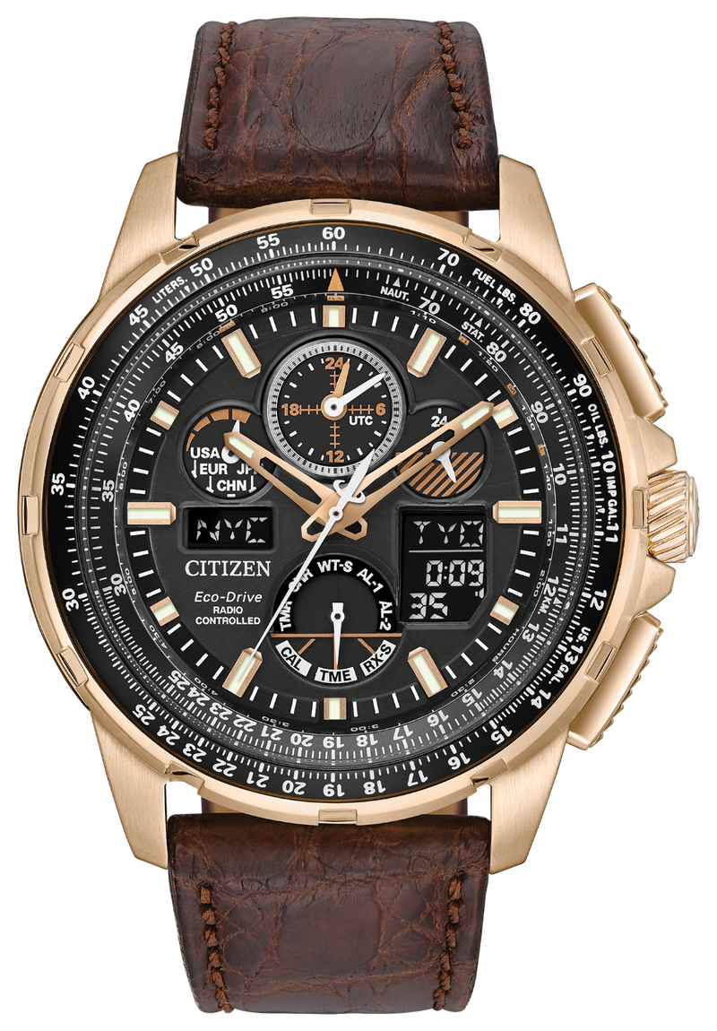 Citizen JY8056-04E Promaster Skyhawk Atomic Time Brown Leather Watch