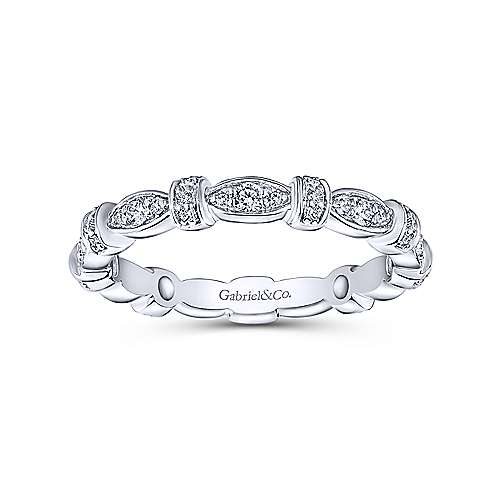 Gabriel & Co 14k White Gold 0.27ct Diamond Stack Stackable Ring LR4579W45JJ