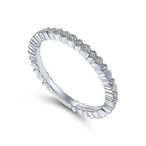Gabriel & Co. 14K White Gold Scalloped Diamond Stackable Ring LR4801W45JJ