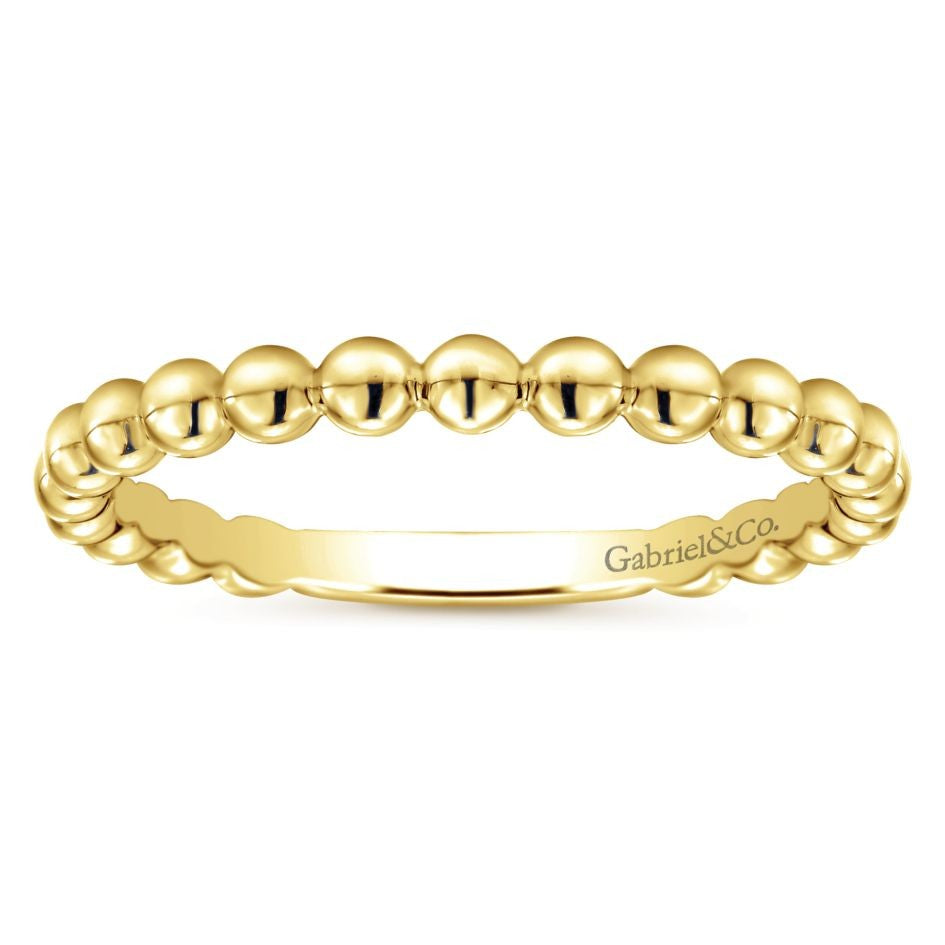 Gabriel & Co. 14K Yellow Gold Beaded Stackable Ring LR4871Y4JJJ