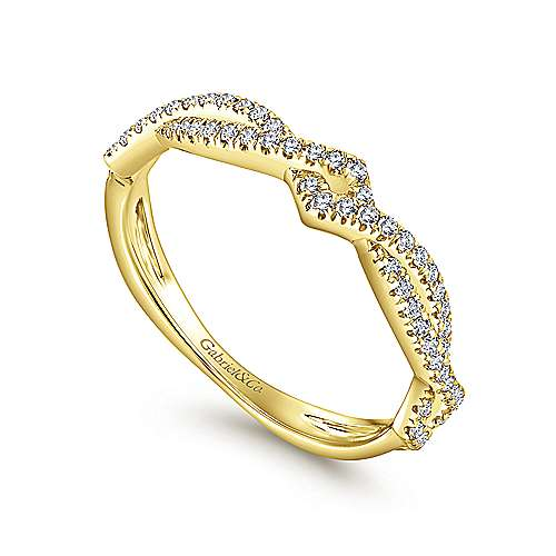 Gabriel & Co. 14K Yellow Gold Twisted Diamond Stackable Ring LR51168Y45JJ