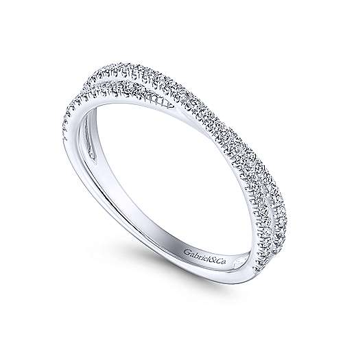 Gabriel & Co. 14K White Gold Criss Cross Diamond Stackable Ring LR51169W45JJ
