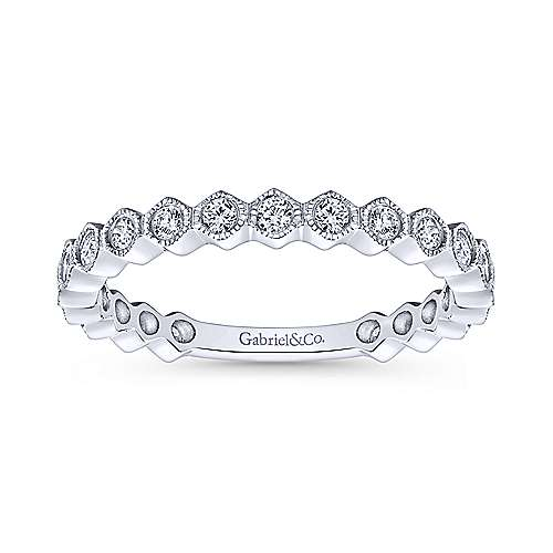 Gabriel & Co. 14K White Gold Hexagon Round Diamond Stackable Ring LR51174W45JJ