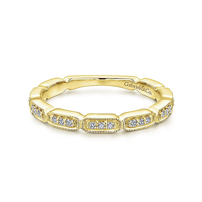 Gabriel & Co. 14K Yellow Gold Segmented Diamond Stackable Ring LR51176Y45JJ