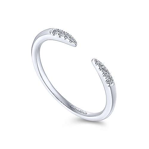 Gabriel & Co. 14K White Gold Open Diamond Tipped Stackable Ring LR51177W45JJ