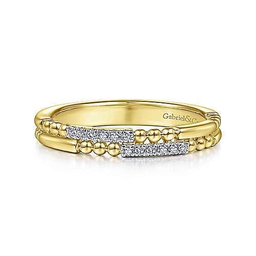 Gabriel & Co. 14K Yellow Gold Segmented Beaded Diamond Stackable Ring LR51456Y45JJ