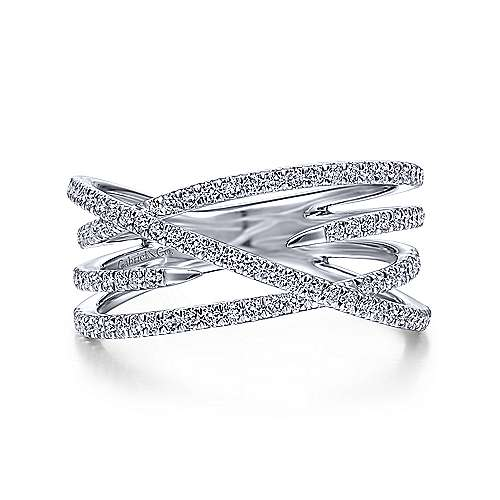 Gabriel & Co. 14K White Gold Diamond Criss Cross Ring LR51634W45JJ