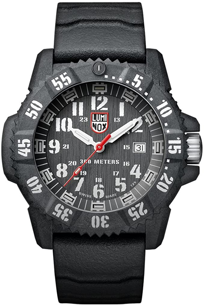 Luminox 3801 Carbon Seal Black Dial Rubber Strap Watch