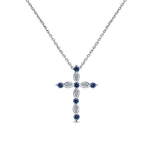 Gabriel & Co. 14K White Gold Sapphire and Diamond Cross Pendant Necklace NK4984W45SA