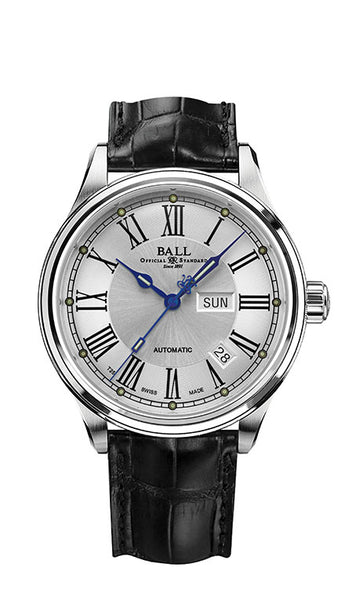 BALL NM1058D-L4J-WH Trainmaster Roman Silver Dial Leather 41mm Watch